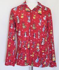 Nick & Nora Christmas Dogs Pajama Top Long Sleeve Flannel Antlers Santa Hat Red