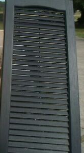14.5 In. X 39 In. Louvered Vinyl Exterior Open Shutters 1- Pair In #050 Black