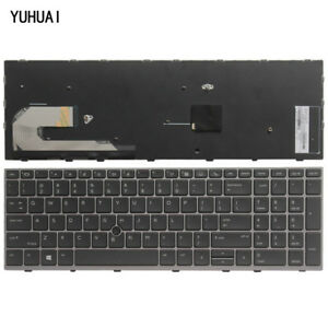 New For HP EliteBook 850 G5 English Keyboard Silver Frame US Without backlight
