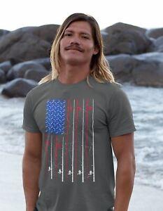 Men's Fishing T Shirt American Flag Fishing Shirts Fishing Poles T-Shirt Fisherm