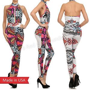 Hot Paisley Print Halter Neck Sleeveless Full Length Sexy Jumpsuit Romper USA
