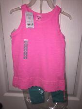 2 piece Carters Girl Pink Flamingo Shirt and Capri set Size 4 NWT