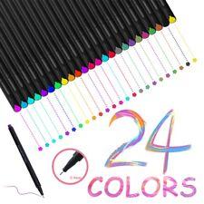 24 Fineliner Color Pen Set 0.4mm Fine Line Drawing Pen Porous Fine Point Markers