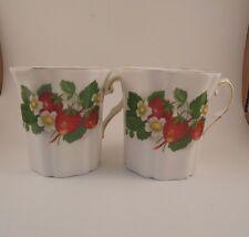 Royal Grafton Bone China Coffee Cup Mug Strawberry Pattern Set of 2
