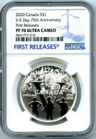 2020 $1 CANADA SILVER DOLLAR 75TH V-E VE-DAY NGC PF70 UCAM PROOF FIRST RELEASES