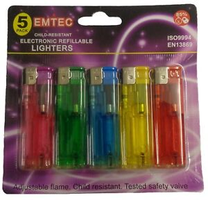 10 X Electronic Lighters 5 Colour Refillable Gas Child Safety Adjustable Flame