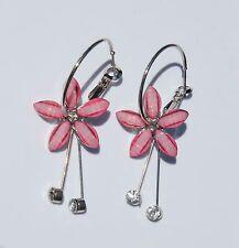 Earring Sparkle Hibiscus Plumeria Flower Dangle Hawaii Luau CZ Long Drop Pink