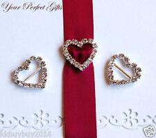 10 pcs HEART Wedding Invitation Rhinestone Crystal Buckles