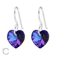 925 Sterling Silver Heliotrope Crystal Heart Drop/Dangle Earrings