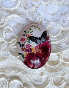 Butterfly & Roses 30X40mm Glitter Unset Handmade Glass Art Bubble Cameo Cabochon