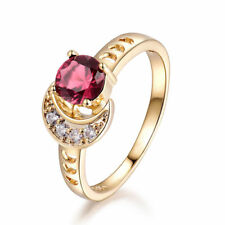 Retro Ruby Sun & Moon Gold Filled Women Lady Wedding Party Jewelry Finger Rings
