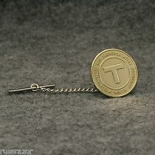 "Tie Tack Pin Chain, Boston Subway Vintage Token ""T"" MBTA"