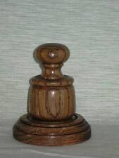WOODEN PALM POCKET GAVEL AND SOUNDING BLOCK IN QUALITY DARK OAK WOOD