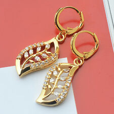 Exclusive 9K Yellow Gold Filled Leaf-Shaped Earrings All use of hand-inlaid