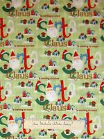 Christmas Fabric Santa Claus House Pine Tree Green Holiday Xmas Cotton YARD