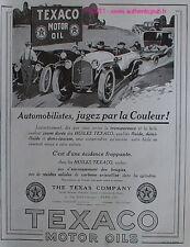 PUBLICITE HUILES TEXACO JAUNE DOREE DE MOTEUR 1923 AD