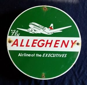 """VINTAGE ALLEGHENY AIRLINES """"AIRLINE OF THE EXECUTIVE"""" PORCELAIN ADVERTISING SIGN"""