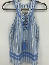 Moon River XS top blouse laced sleeveless tank striped fringe tassels NEW