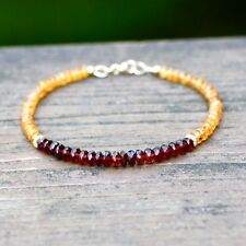 Natural Orange Hessonite Garnet Bracelet Solid 14K Gold , January Birthstone