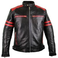 Retro Motorrad Lederjacke mit Protektoren / Schwarz mit roten Applicationnen