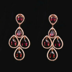 Luxury Solid 18K Rose Gold Natural Pink Tourmaline Diamond Chandelier Earrings