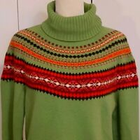 Eddie Bauer Women's Sweater Nordic Fair Isle Turtleneck Cotton Angora Beads XLT