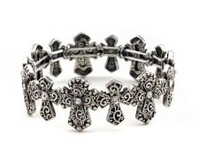 with Clear Rhinestones Silver Cross Stretch Bracelet