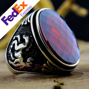 925 Sterling Silver Turkish Handmade Jewelry Ruby Luxury Men's Ring All Sizes