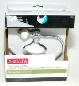 Alexandria European Single Post Toilet Paper Holder in Chrome and White by Delta
