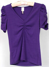 Andrea Women's Purple Ruffled Short Sleeve Top Cinched Neck Shirt Size S