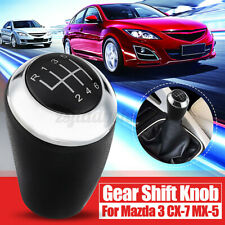 6 Speed Manual Gear Shift Knob Leather For Mazda 3 5 6 Series CX-7 MX-5 CX7 MX5
