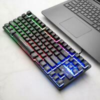 1pc ZIYOU LANG K16 87 Keys USB Wired Mechanical Feel 7 Backlight Gaming Keyboard