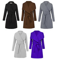 New Womens Italian Design Long Waterfall Belted Long Sleeve Trench Coat Jacket