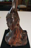 Vintage 18cm Car ved E bony Wood Statue Asian Tribal Lady Figurine Bust 532grams
