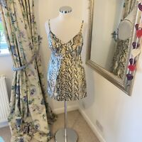 Topshop Size 12 petite gold sparkly strappy snake print clubbing going out dress