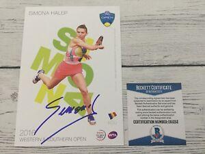 Simona Halep Signed Autographed 5x7 W&S Card Beckett BAS COA c