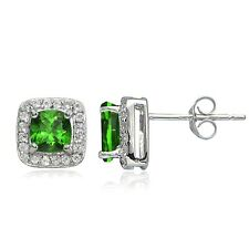 Sterling Silver 1.7ct Created Emerald & White Topaz Cushion-Cut Stud Earrings