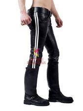 Men's Leather Pants Double Zip Jeans Trousers Breeches BLUF Lederhosen Cuir Gay
