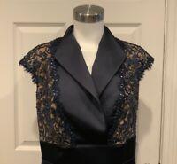 Tadashi Shoji Navy Blue Sheath Dress W/ Lace, Bead, & Sequin Detail, Size 14