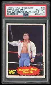1985 OPC WWF DAVEY BOY SMITH Wrestling ROOKIE Card #48 ** PSA 8 NM-MT ** WWE