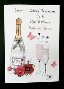Handmade Personalised Wedding Anniversary Card - Any Year - 1st 2nd 3rd 4th 5th