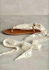 NIB Anthropologie leather Sandals Miss Albright Lace Up Turquoise Ivory Laces 9
