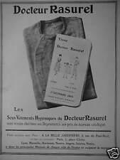 PUBLICITÉ 1915 DOCTEUR RASUREL LES SOUS VÊTEMENTS HYGIÉNIQUES