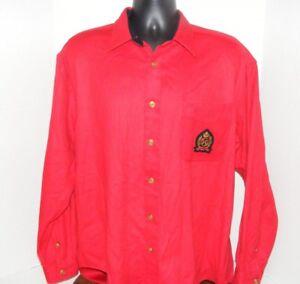 Tommy Hilfiger Red Wool Blend Gold Button Front Wool Blend Shirt SZ LG Crest VGC