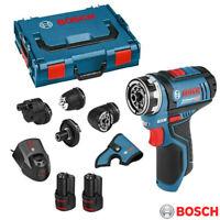 Bosch GSR 12V-15 FC 12v FlexiClick Drill Driver + 4x Chucks & 2x 2.0Ah Batteries