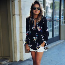 Damen Langarm Bluse T Shirt Longshirt Geblümt Tops Hemd Oberteile Mode.Schönheit