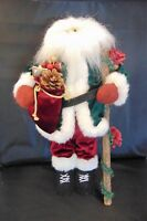 "Vintage 19"" Stuffed Santa Doll Christmas Tabletop Walking Stick Fur Velvet Wood"