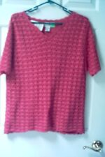 NEW Ladies Fuchsia Two Layer Knit and Crochet Cotton Sweater,  X Large Tee Shir