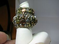 WILD LOOKING COPPER,BRASS,SILVER TONED STRETCHY RHINESTONE KNUCKLE-FINGER RING