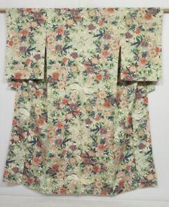 0329N09z560 Vintage Japanese Kimono Silk KOMON Off-white Flowers
